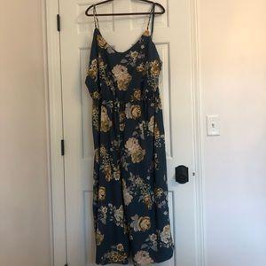 Rue21 teal floral jumpsuit